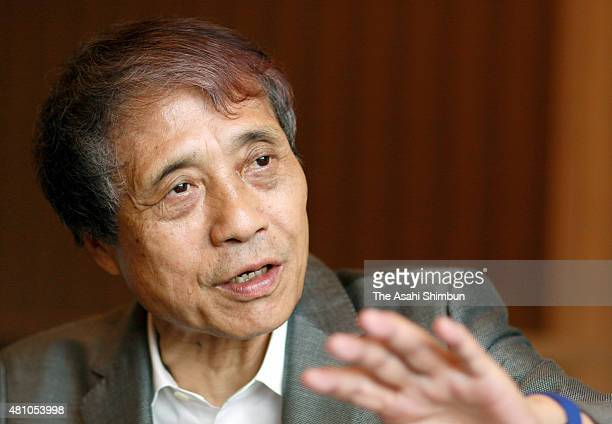 Architect Tadao Ando who served as the chairman of the international desgin competition of the new national stadium speaks during the Asahi Shimbun...