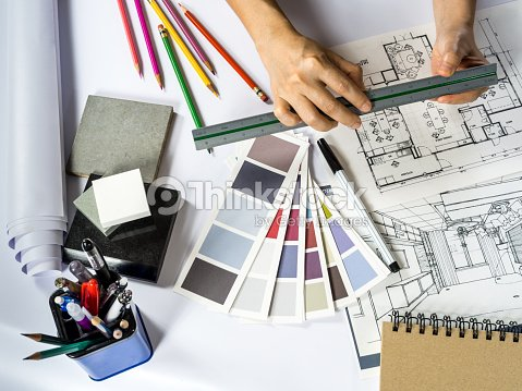 Architect Working With Shop Drawing Material Sample Home Improvement Concept Stock Photo