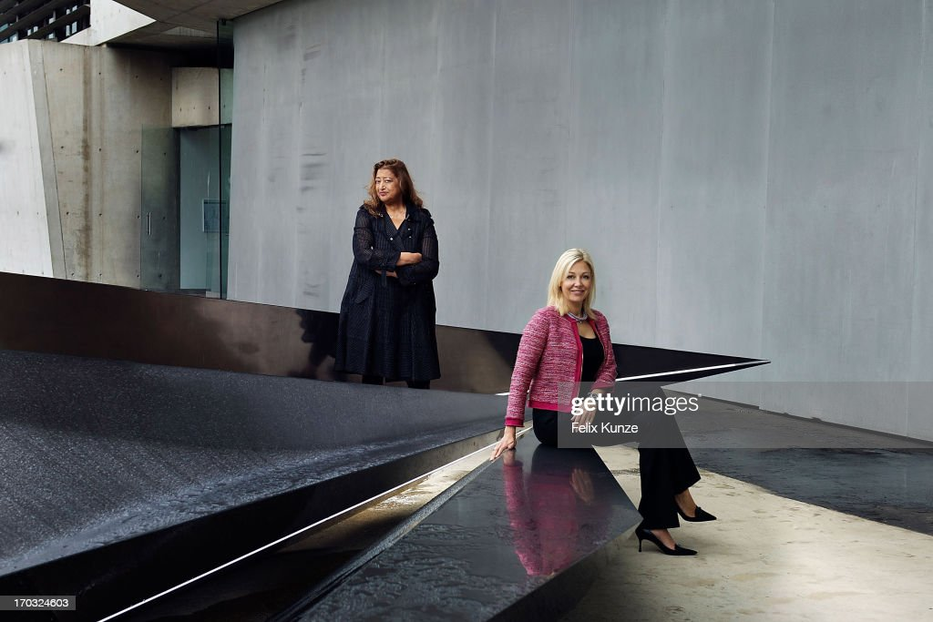 Architect <a gi-track='captionPersonalityLinkClicked' href=/galleries/search?phrase=Zaha+Hadid&family=editorial&specificpeople=560782 ng-click='$event.stopPropagation()'>Zaha Hadid</a> and <a gi-track='captionPersonalityLinkClicked' href=/galleries/search?phrase=Nadja+Swarovski&family=editorial&specificpeople=653118 ng-click='$event.stopPropagation()'>Nadja Swarovski</a> pose with Hadid's sculpture 'Prima', an installation to mark the 20th anniversary of Vitra Fire Station, at Vitra Campus on June 10, 2013 in Weil am Rhein, Germany.
