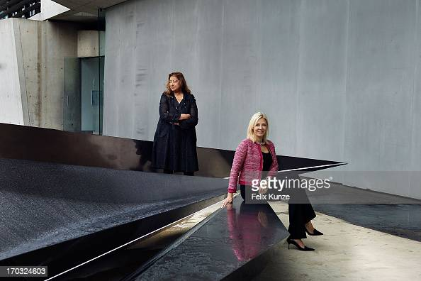 Architect Zaha Hadid and Nadja Swarovski pose with Hadid's sculpture 'Prima' an installation to mark the 20th anniversary of Vitra Fire Station at...