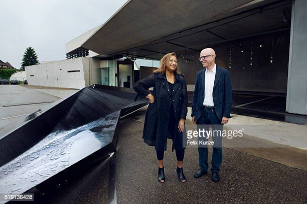 Architect Zaha Hadid and Rolf Fehlbaum Chairman Emeritus and Member of the Board of the Directors of Vitra are photographed on June 10 2013 with her...