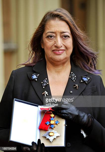 Architect Zaha Hadid poses after she became a Dame Commander of the British Empire following an Investiture Ceremony hosted by the Princess Royal at...