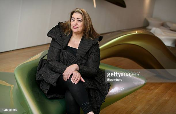 Architect Zaha Hadid poses at the opening of her first exhibition in the UK at the Design Museum in Shad Thames in London's Docklands Thursday June...