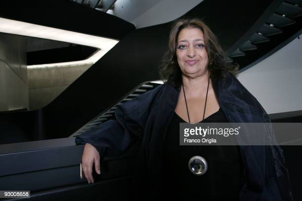 Architect Zaha Hadid poses during the Architectural Preview of the MAXXI Museum designed by herself on November 12 2009 in Rome Italy Zaha Hadid was...