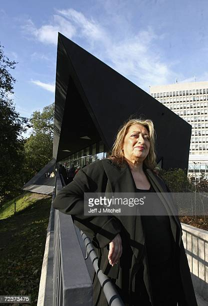 Architect Zaha Hadid poses in front of the new Maggie Centre at the Victoria Hospital in Kirkcaldy November 3 2006 in Kirkcaldy Scotland The Fife...