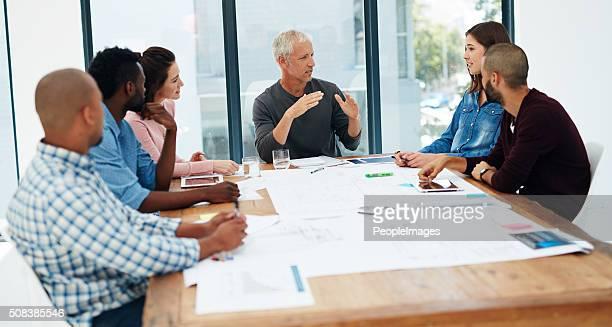 Architekten es auf den Tischen
