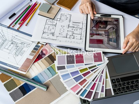 Architects Interior Designer Hands Working With Tablet Computer Material Sample Stock Photo