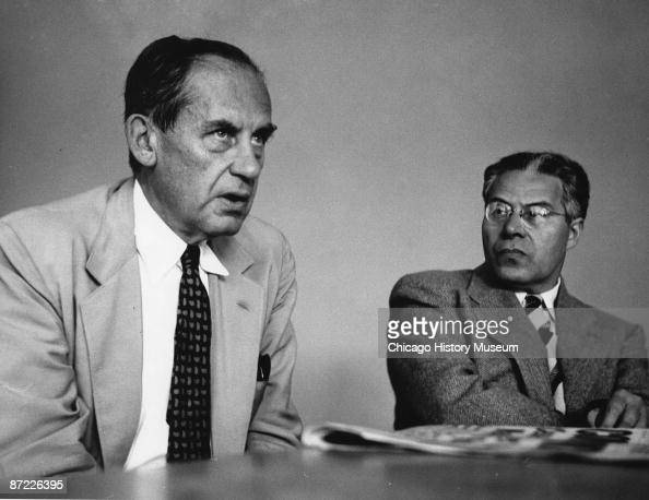 Architects Walter Gropius and Laszlo MoholyNagy seen together while at the Institute of Design Chicago ca1950s