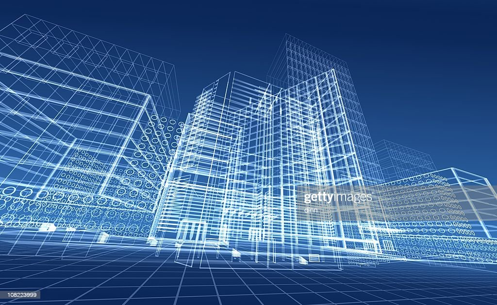 Architectural blueprint of contemporary buildings : Stock Illustration