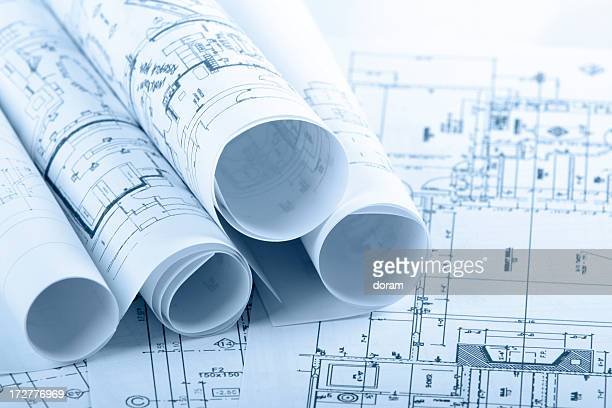 Architectural blueprints and blueprint rolls