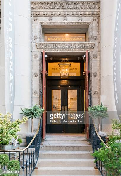 Architectural carvings at entrance of Club Monaco store in Toronto Club Monaco offers chic and stylish men's and women's clothing