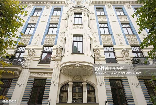 Architectural detail of art nouveau building, Riga, Latvia