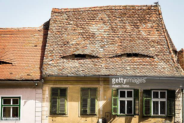 Architectural detail of houses in Sibiu, Transylvania, Romania
