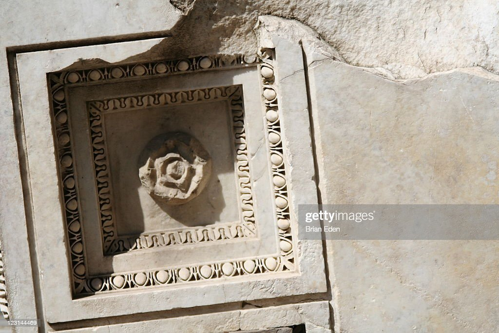 Architectural detail of marble ruins in Rome Italy : Stock Photo