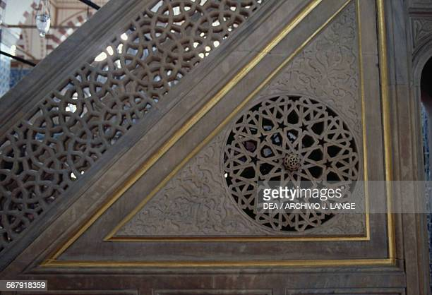 Architectural detail of the minbar Rustem Pasha Mosque 15501556 built by the architect Mimar Sinan for the grand vizier Rustem Pasha Istanbul Turkey...