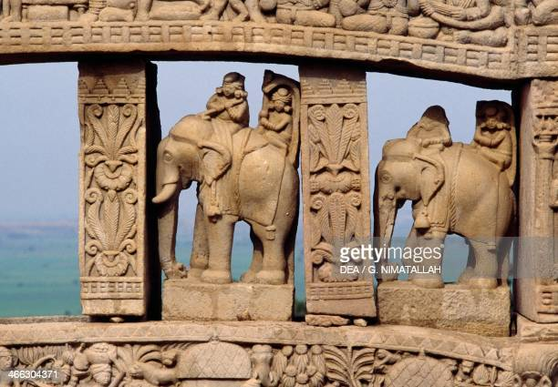 Architectural detail with elephants of the North Gate of the Great Stupa Sanchi Madhya Pradesh India 1st century BC