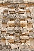 architectural details closeup at Uxmal maya ruins Mexico