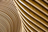 Architectural details of Welsh Assembly building. Wooden planks from sustainable sources. Eco-friendly design at its best