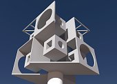 Cubic structure standing on column. 3D rendering. Perspective view.
