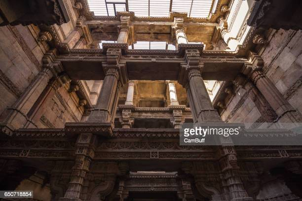 Architectural features of Adalaj Stepwell, Solanki architectural style, located in Ahmedabad, gujarat.