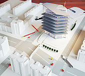 architectural model of a modern building (illustration)