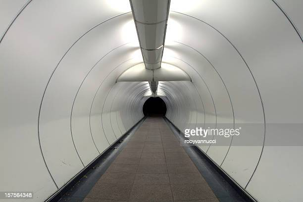 Architectural modern design of a long pedestrian tunnel