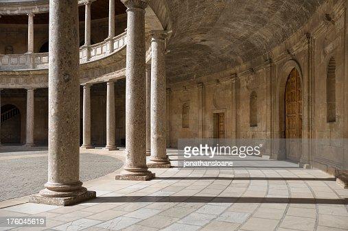 Architectural photo showing Alhambra Columns, Granada, Spain