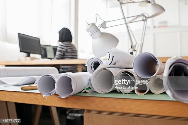 Architectural plans in design studio