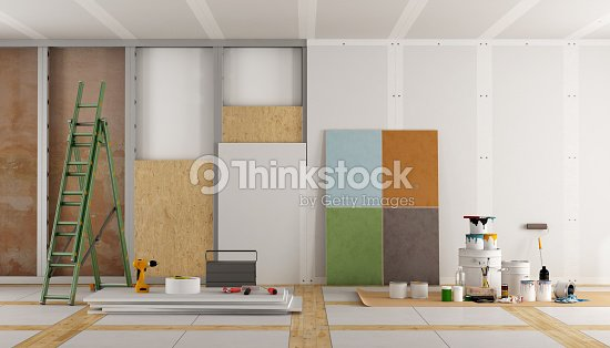 architectural restoration of an old room : Stock Photo