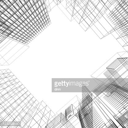Architectural Square Of Wireframe Buildings Stock Photo
