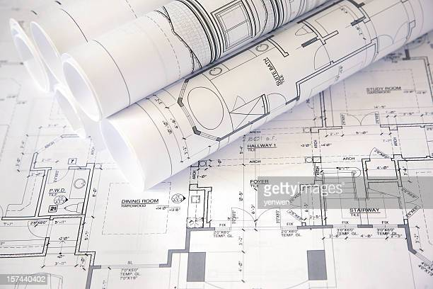Blueprints rolled stock photos and pictures getty images for Architecture design blueprint