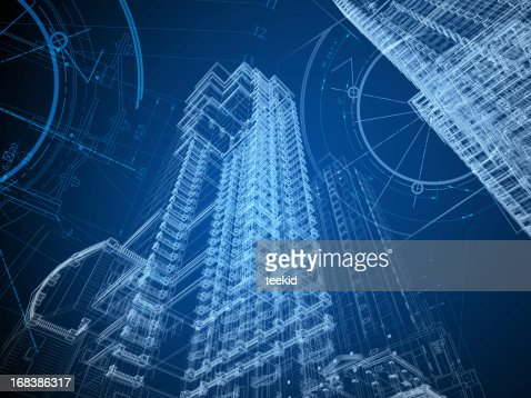 Skyscraper Building Architectural Blueprint Wireframe Stock