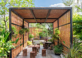 Architecture building wooden exterior in shady garden