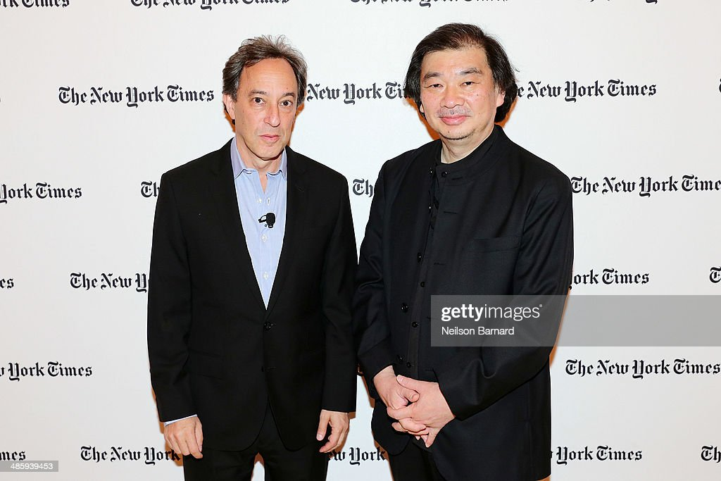Architecture critic for the New York Times Michael Kimmelman (L) and 2014 Pritzker Prize-winning architect <a gi-track='captionPersonalityLinkClicked' href=/galleries/search?phrase=Shigeru+Ban&family=editorial&specificpeople=2094801 ng-click='$event.stopPropagation()'>Shigeru Ban</a> attend the cocktail reception for the New York Times Cities for Tomorrow Conference on April 21, 2014 in New York City.