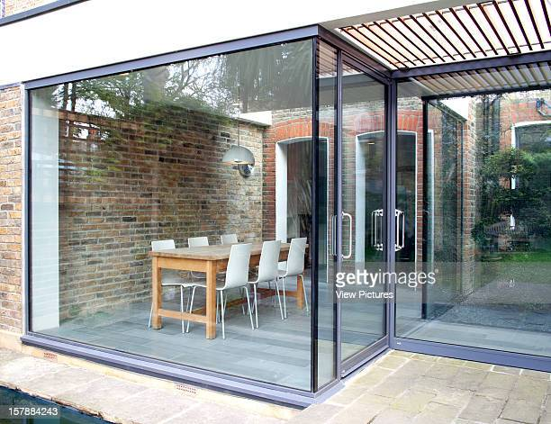 H2 Architecture Crockerton Road Sw17 Kitchen Extension Living Space With Glass Frontage And Void Exterior View Looking In To Dinning Room With...