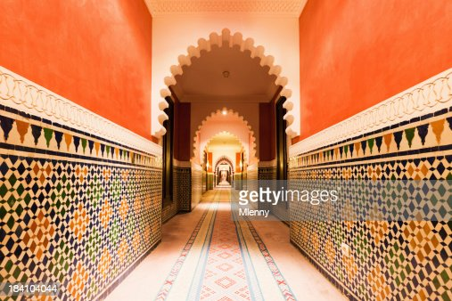 Architecture Moroccan Archway with Ornamental Tiles Interior Design