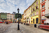 The corner of Rynok Square and view of Latin Cathedral in Lviv, Ukraine