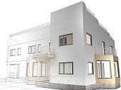 3D rendering of a villa with contrasting realistic rendering and wireframe
