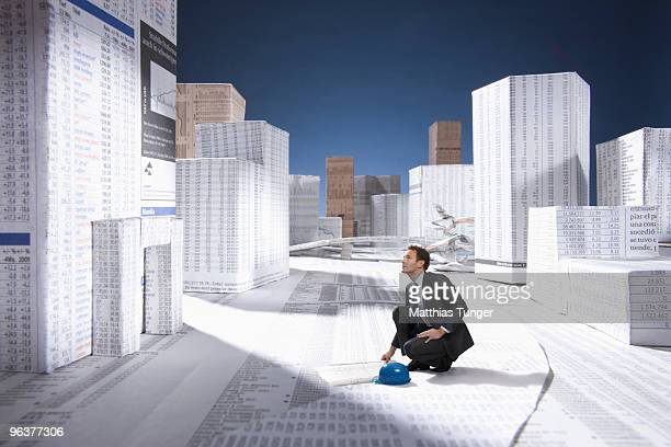 Architekt checking a artificial building