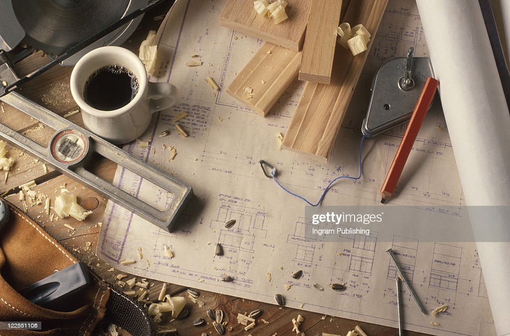Architural Plans And Construction : Stock Photo