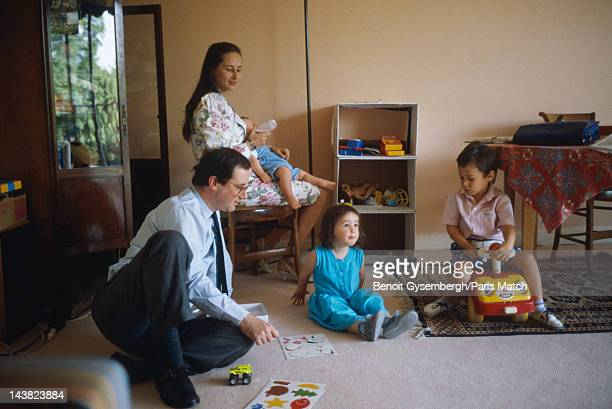 Archival photograph of French politician Francois Hollande at home with his wife Segolene Royal and their children are photographed for Paris Match...