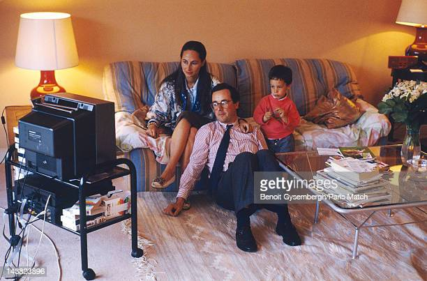 Archival photograph of French politician Francois Hollande at home with his wife Segolene Royal and one their three children photographed for Paris...