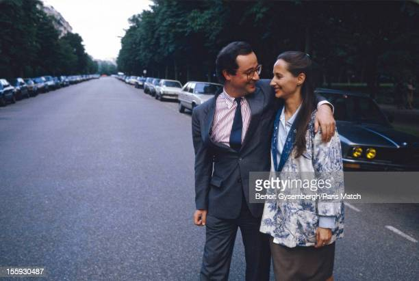 Archival photographs of French politician Francois Hollande and Segolene Royal photographed for Paris Match on June 20 1988 in Paris France