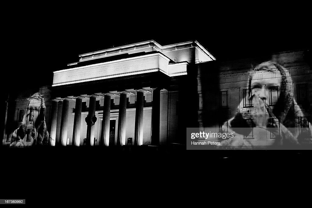 Archive footage is projected onto the walls of the Auckland Museum prior to ANZAC Day on April 23, 2013 in Auckland, New Zealand. Veterans, dignitaries and members of the public mark the 98th anniversary of ANZAC (Australia New Zealand Army Corps) Day, on April 25, 1915 when allied New Zealand and Australian First World War forces landed on the Gallipoli Peninsula. Commemoration events are held across both countries in remembrance of those who fought and died in all wars.