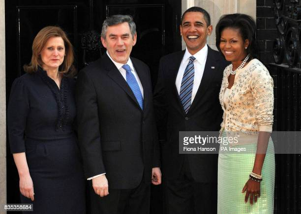 Archive image dated US President Barack Obama and wife Michelle at 10 Downing Street in London where they were greeted by Prime Minister Gordon Brown...