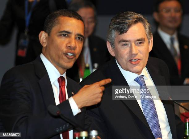 Archive image dated US President Barack Obama speaks with Britain's Prime Minister Gordon Brown during the Plenary Session at the G20 Summit at the...