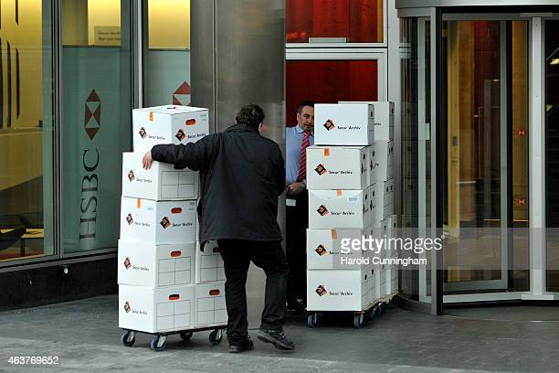 HSBC archives are brought back to the premises of the private bank on the request of the Geneva Attorney General Olivier Jornot as the premises of...