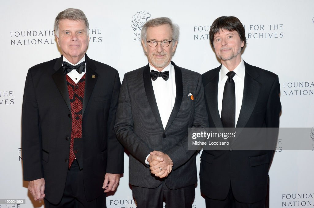 Archivist of the United States The Honorable David S. Ferriero, filmmaker and honoree <a gi-track='captionPersonalityLinkClicked' href=/galleries/search?phrase=Steven+Spielberg&family=editorial&specificpeople=202022 ng-click='$event.stopPropagation()'>Steven Spielberg</a>, and Foundation for the National Archives Board Vice President and Gala Chair <a gi-track='captionPersonalityLinkClicked' href=/galleries/search?phrase=Ken+Burns&family=editorial&specificpeople=220451 ng-click='$event.stopPropagation()'>Ken Burns</a> attend the Foundation for the National Archives 2013 Records of Achievement award ceremony and gala in honor of <a gi-track='captionPersonalityLinkClicked' href=/galleries/search?phrase=Steven+Spielberg&family=editorial&specificpeople=202022 ng-click='$event.stopPropagation()'>Steven Spielberg</a> on November 19, 2013 in Washington, D.C.