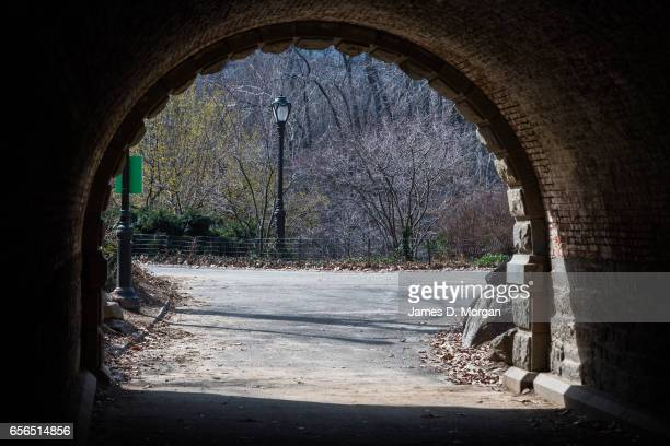 Archway from overhead walk bridge in Central Park in New York City on Feb 28th 2017