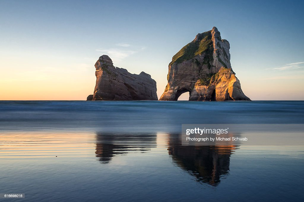Archway Islands sunset, New Zealand : Stock Photo
